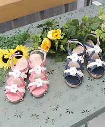 【OUTLET】(キッズ)立体お花デニムサンダル