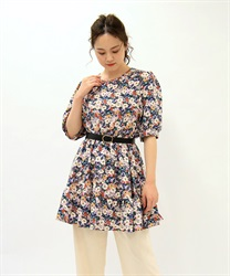 【OUTLET】小花柄プリントチュニック【Web限定商品】