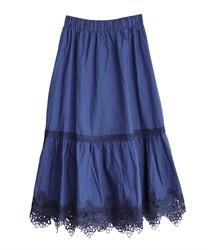 裾レースティアードスカート(ブルー-M)