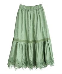 裾レースティアードスカート(グリーン-M)