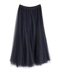ロングチュールスカート(紺-M)