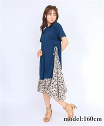 【OUTLET】【Web価格】サイドリボン異素材ワンピース