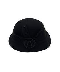 【OUTLET】【Web限定】立体お花フェルト帽(黒-M)
