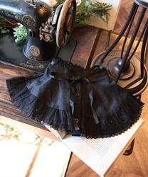 リボンタイ付き付け襟(黒-M)
