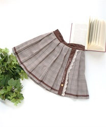【OUTLET】(キッズ)刺繍入りチェック柄スカパン(茶-S)