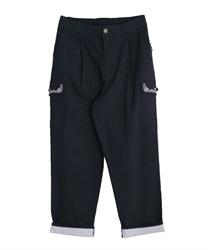 裾ストライプカーゴパンツ(紺-M)