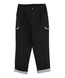 裾ストライプカーゴパンツ(黒-M)