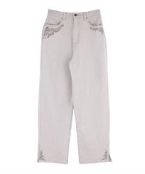 バラ刺繍カラーデニムパンツ(グレー-M)