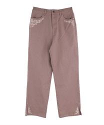 バラ刺繍カラーデニムパンツ(モカ-M)