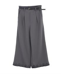 【均一価格/WEB限定】ベルト付裾レースワイドパンツ(グレー-M)