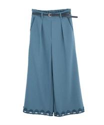 【均一価格/WEB限定】ベルト付裾レースワイドパンツ(ブルーグリーン-M)