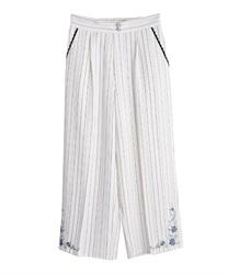 裾刺繍ストライプワイドパンツ(白-M)