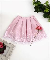 (キッズ)メルヘン刺繍入りシアースカート(淡ピンク-M)