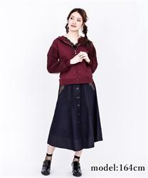 【OUTLET】前釦刺繍入ミドルスカート