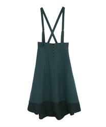 【10%OFF対象】サス付き裾レースイレヘムスカート(Dグリーン-M)