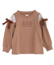 【10%OFF対象】(キッズ)くま刺繍入り袖デザインプルオーバー