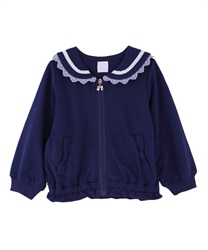 【10%OFF対象】(キッズ)刺繍入りセーラー襟パーカー