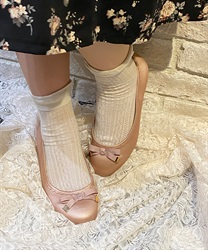 【OUTLET】リボン付バレエパンプス(淡ピンク-S)