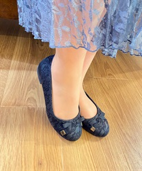 【OUTLET】リボン付バレエパンプス(黒-S)