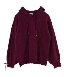 【OUTLET】【Web限定】袖リボンニットパーカー(ワイン-M)