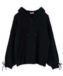 【OUTLET】【Web限定】袖リボンニットパーカー(紺-M)
