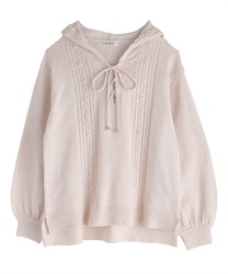 【OUTLET】【Web限定】フード付きニット(生成り-M)