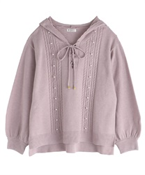 【OUTLET】【Web限定】フード付きニット(淡ピンク-M)