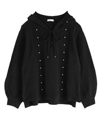 【OUTLET】【Web限定】フード付きニット(黒-M)