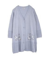 バラ刺繍ロングニットカーデ【Web価格】(ブルー-M)