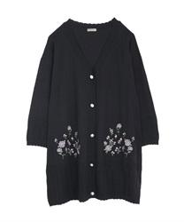 バラ刺繍ロングニットカーデ【Web価格】(黒-M)