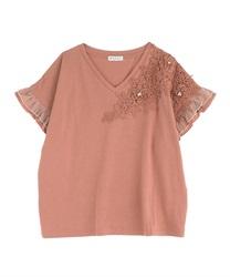 【OUTLET】立体花モチーフレースTシャツ