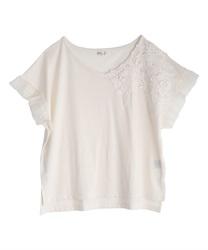 立体花モチーフレースTシャツ(白-M)
