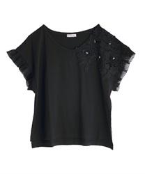 立体花モチーフレースTシャツ(黒-M)