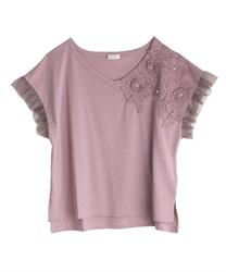立体花モチーフレースTシャツ(ラベンダー-M)