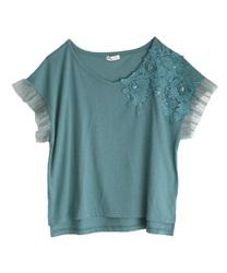 立体花モチーフレースTシャツ(ブルーグリーン-M)