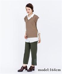 【OUTLET】ベルト刺繍裾スリットパンツ