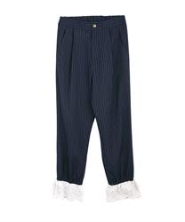 裾レースストレートパンツ(紺-M)
