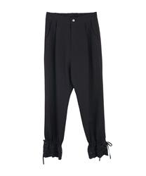 裾レースストレートパンツ(黒-M)