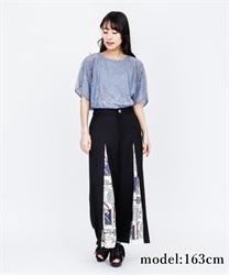 【OUTLET】スカーフ切替ワイドパンツ(黒-M)