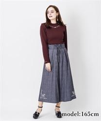 【OUTLET】【GWフェア/2点10%OFF対象】裾刺繍タック入りワイドパンツ(紺-M)