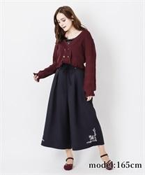 【OUTLET】【GWフェア/2点10%OFF対象】裾刺繍タック入りワイドパンツ(黒-M)