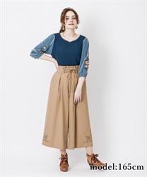 【OUTLET】【GWフェア/2点10%OFF対象】裾刺繍タック入りワイドパンツ(キャメル-M)