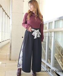 【OUTLET】【Web価格】スカーフ切替ワイドパンツ