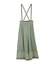 裾刺繍サス付ワイドパンツ(グリーン-M)