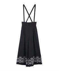 裾刺繍サス付ワイドパンツ(黒-M)