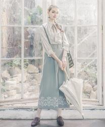 裾刺繍サス付ワイドパンツ