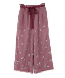 小花刺繍リラックスワイドPT(ピンク-M)