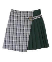 【10%OFF対象】ベルトデザインバイカラースカート(紺-M)