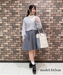 【OUTLET】【Web価格】レースアップデザインスカート