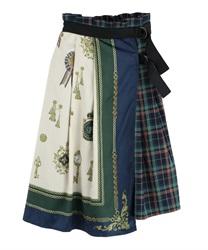 【OUTLET】スカーフ柄ラップスカート(ブルー-M)